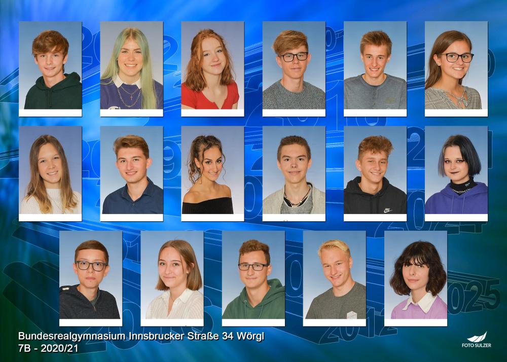 Klassenfoto 7B, 2020/21 | BRG Wörgl