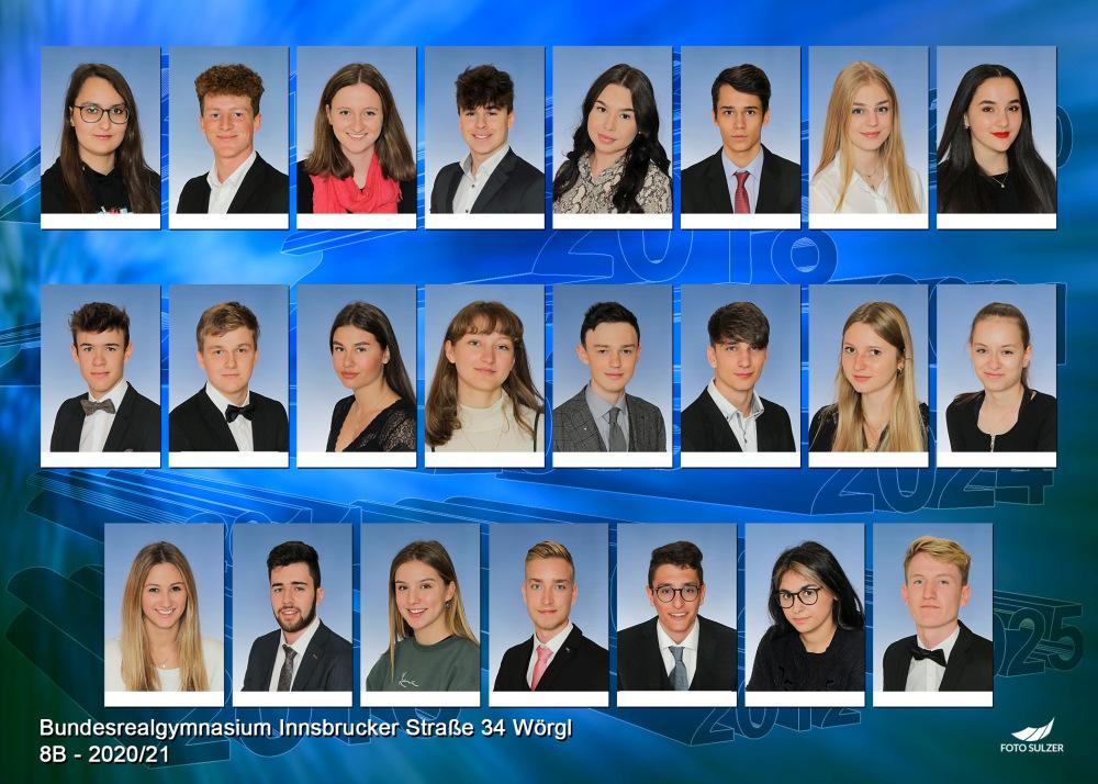 Klassenfoto 8B, 2020/21 | BRG Wörgl