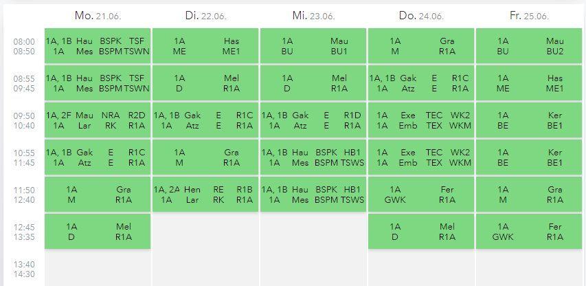 Beispielhafter Stundenplan einer 1. Klasse   BRG Wörgl