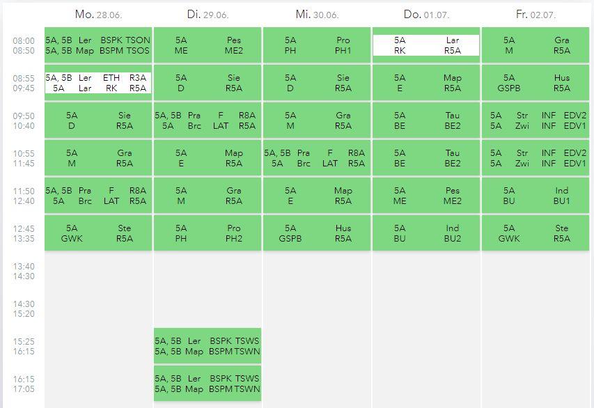 Beispielhafter Stundenplan einer 5. Klasse   BRG Wörgl